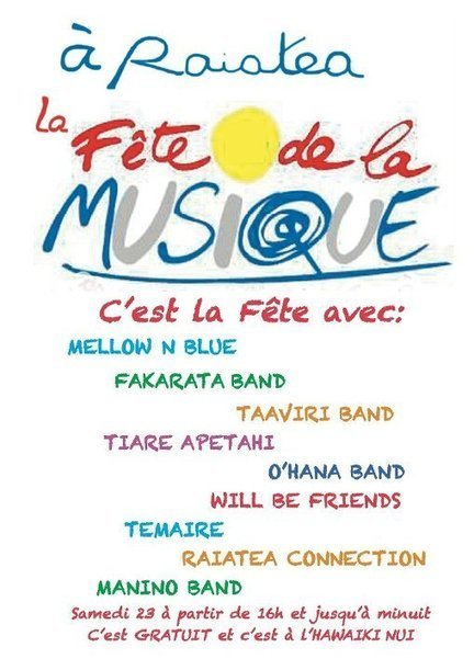 FETE DE LA MUSIQUE A RAIATEA | TAHITI Le Mag | Scoop.it