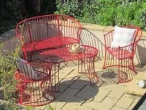 Red Garden Furniture Set, Bench, 2 Armchairs and Coffee Table Wrought Iron Style   GARDEN ARBOUR   Scoop.it