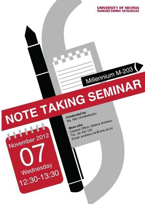 Note Taking Seminar   University of Nicosia Library   Scoop.it
