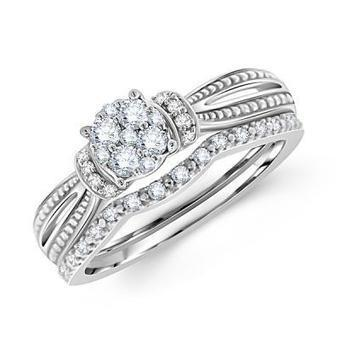 14k White Gold Round Diamond Bridal Set | Wedding Ring | Scoop.it