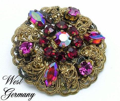 Vintage Brooch Made In Germany Aurora Borealis Rhinestone and Golden Filigree | Beautiful Bargain Vintage Costume Jewelry | Scoop.it