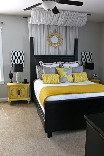 Bedroom: Gorgeous Bedroom Interiors Decorated with Yellow Accent , Grey And Yellow Bedroom Ideas, Pale Yellow Bedroom Ideas, Light Yellow Bedroom Ideas ~ PaseOner | Chambres et salles de bains | Scoop.it