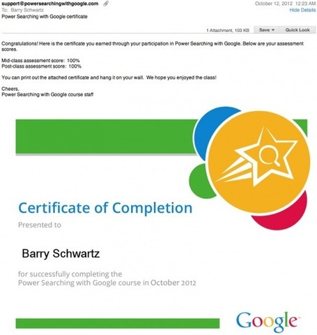Google Sends Out Second Batch Of Power Searching Certificates | Online Marketing Resources | Scoop.it