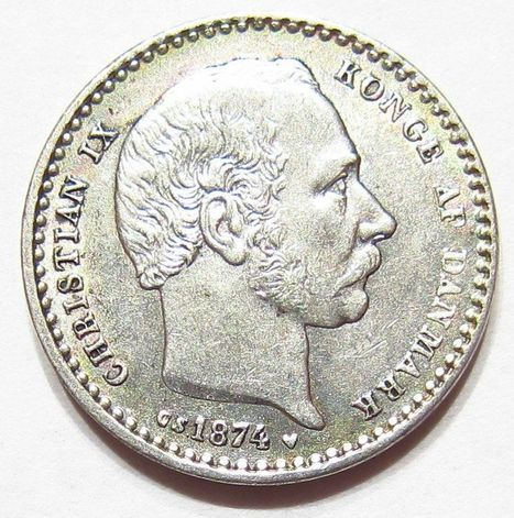 1874 (h) CS SILVER 25 ORE King Christian IX DANISH DENMARK 1st Year & KEY DATE | Coins Tokens & Medals | Scoop.it