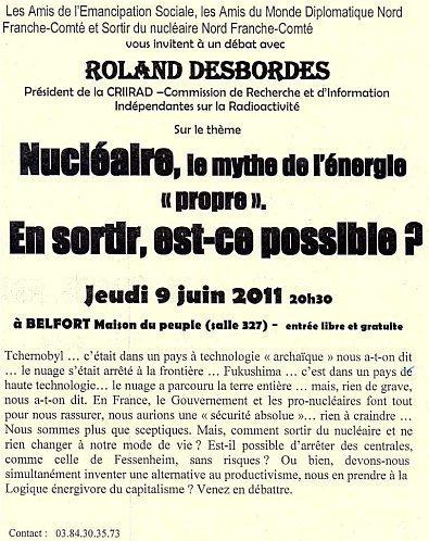 CRIIRAD à Belfort : une réunion unique - Blog cap21 Franche-Comte : | CAP21 Le Mouvement | Scoop.it