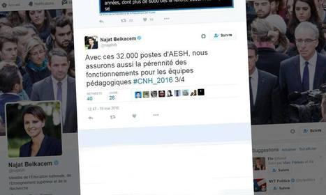Najat Vallaud-Belkacem agace le web en parlant de « postes d'AESH » | Crise de com' | Scoop.it