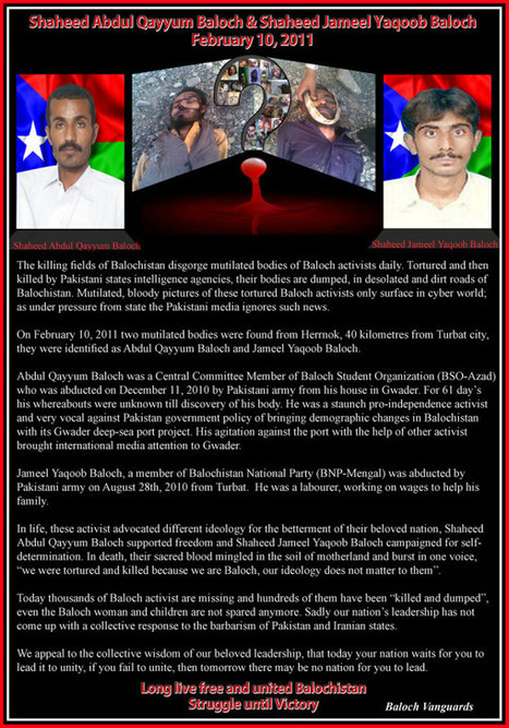 First anniversary of the Martyrdom of Abdul Qayyum Baloch and Jameel Yaqoob Baloch | Human Rights and the Will to be free | Scoop.it