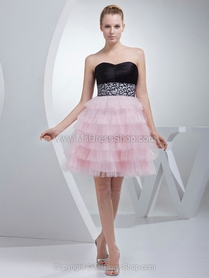 A-line Sweetheart Tulle Satin Short/Mini Tiered Homecoming Dresses | Cocktail dresses online | Scoop.it