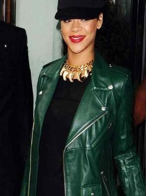 Rihanna Leather Jacket | Green Biker Jacket | Women's Jackets | Scoop.it