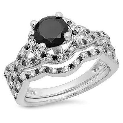 1.60 Carat (ctw) 14K White Gold Black And White Diamond Halo... | Jewelry Mall | Scoop.it