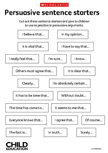 Persuasive sentence starters | The Key To Successful Leadership | Scoop.it