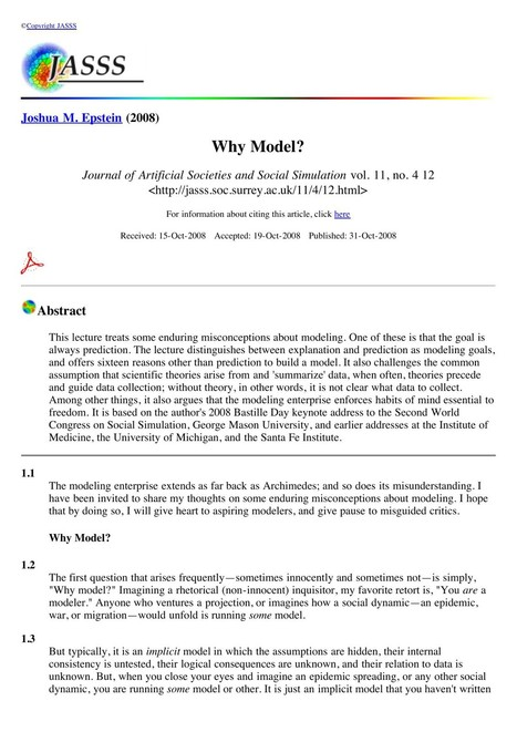 Why Model? Joshua M. Epstein | Non-Equilibrium Social Science | Scoop.it