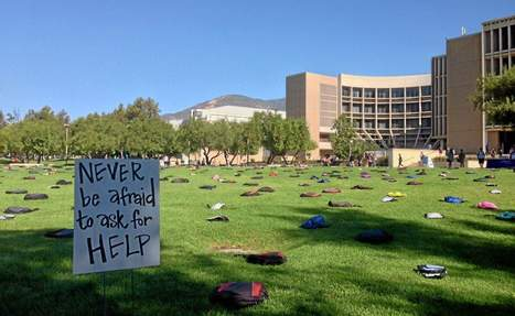 College student suicides illustrated with backpacks on CSUSB lawn - San Bernardino Sun   Public Relations   Scoop.it