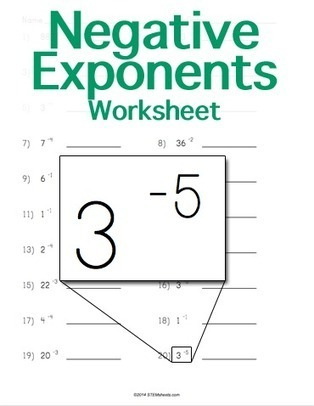 Negative Exponents Worksheet | Customizable | Math Worksheets and Flash Cards | Scoop.it