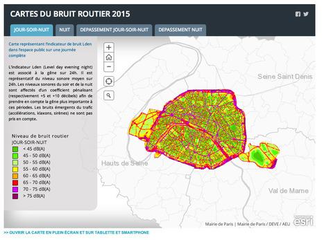 Paris.fr publie la CARTOGRAPHIE du BRUIT des rues de la capitale avec ArcGIS Online | URBANmedias | Scoop.it