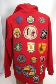 1970's Boy Scout Red wool jacket/shirt perfect shape tons of patches | Alcoholic Outsider Artist | Scoop.it