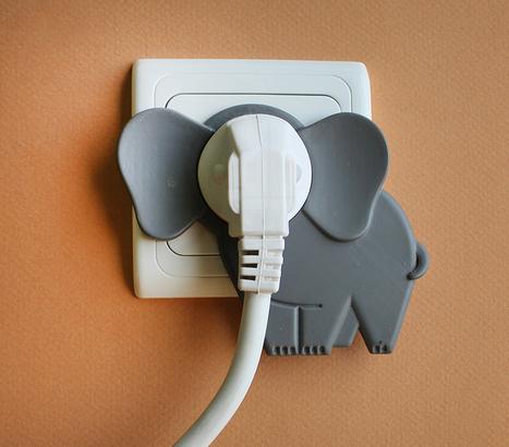idan noyberg + gal bulka attach elephant in the room onto wall plugs - designboom | architecture & design magazine | Plastics in Art | Scoop.it