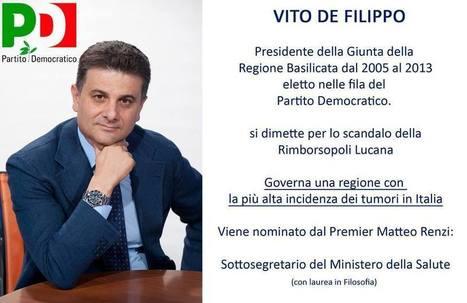 I risultati dei patti del PD in Basilicata: De Filippo sottosegretario Sanità | I THINK AND I SHARE | Scoop.it