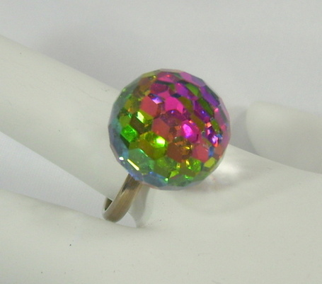 Vintage Rainbow Faceted Glass Prism Ball Ring Adjustable - The Vintage Village | Vintage Passion | Scoop.it