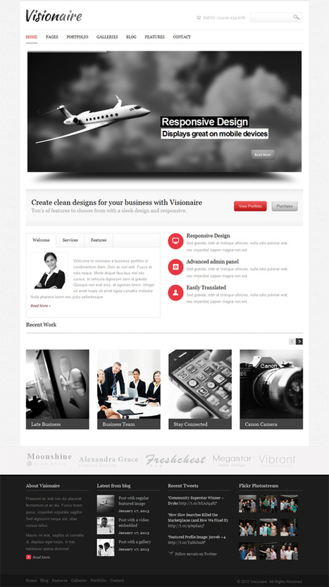 Visionaire, WordPress Responsive Business Theme | WP Download | CSS | Scoop.it
