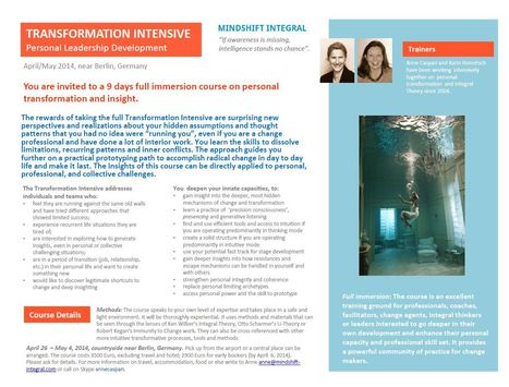 Invitation to a Full Immersion in Personal Transformation, April 2014, in Germany | Futurable Planet: Answers from a Shifted Paradigm. | Scoop.it