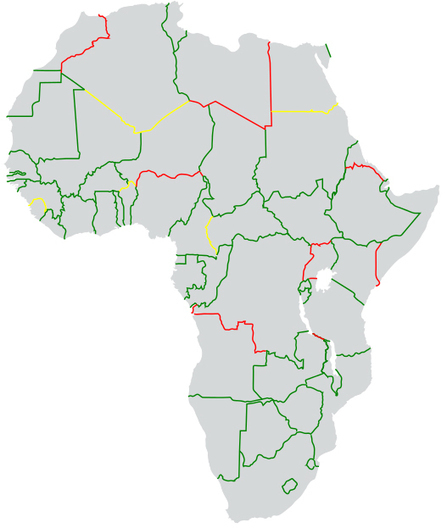 Official Border Statuses in Africa 2013.<br/>Green = Open<br/>Yellow =... | AP Human Geography Petrides | Scoop.it