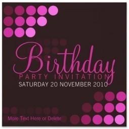 Pink Birthday Modern & Funky Party Invitations | Birthday Invitations Print | Scoop.it
