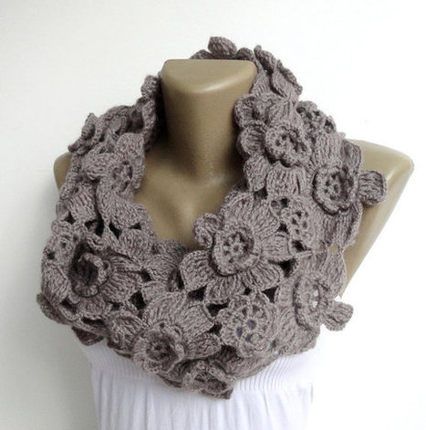 women alpaca scarf ,infinity scarves ,circle scarf ,crocheted infinity scarf ,floral scarf , neckwarmer , for her | scarf | Scoop.it