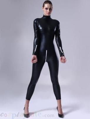 Black Women Shiny Metallic Catsuit   zentai bodysuit,spandex zentai suit bodysuit   Scoop.it