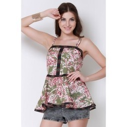 Oil Green Floral Trim Top   Online shopping for women   Scoop.it