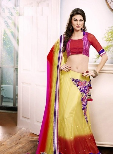 Buy online affordable Lehnga Choli In Yellow with Moti, Stone,Embroidery   Bridal Lehengas   Scoop.it