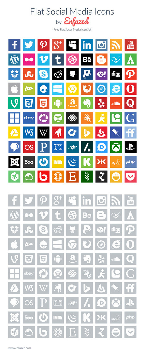 90 Free Flat Social Media Icons | Social Media Branding and Social Media Business | Scoop.it