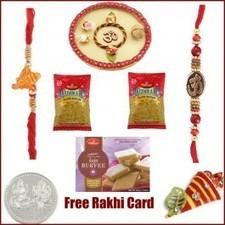 Rakhi Thali with 2 Rakhis, Haldiram Kaju Burfi and 2 Namkeen - Send Rakhi to USA   Rakhi Gifts to India, USA, UK, Canada, Australia   Scoop.it