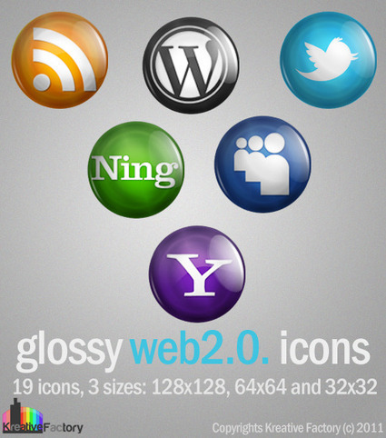 Free Web2.0. icons for social media, blog and website | Kreative Factory | Integrating Technology in the Classroom | Scoop.it
