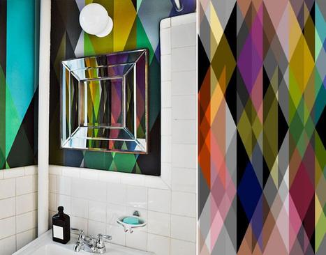 Au Fil des Couleurs - Papiers peints géométriques pour une salle de bain graphique   Papier peint   Scoop.it