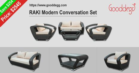 RAKI luxury all-weather Modern Conversation Set at sale | Home Decor (Wicker Furniture) | Scoop.it