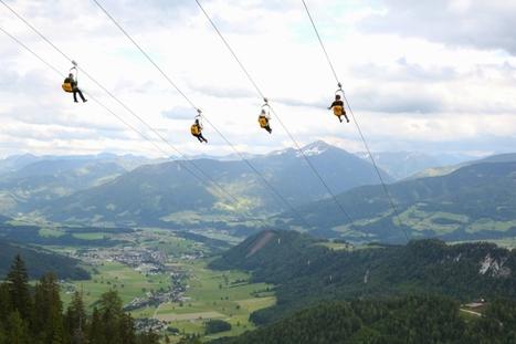 Stoderzinken, Dachstein(A), la plus longue tyrolienne d'Europe prolonge l'été jusqu'au 31 octobre. | Football | Scoop.it