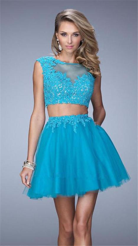 Short Two Piece Lace Homecoming Dress by La Femme 21878 [La Femme 21878] - $177.00 : www.cutehomecomingdresses2015.com | women fashion dresses | Scoop.it