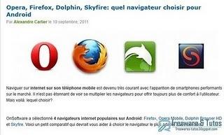 Le site du jour  : Quel navigateur choisir pour Android ? | Actualités de l'open source | Scoop.it