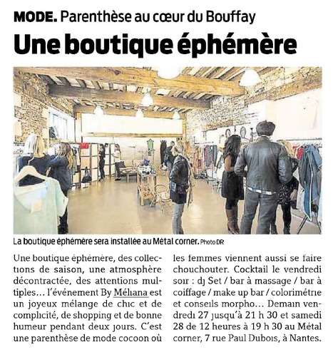 JOURNAL PRESSE OCEAN | Boutiques éphémères By Méliana | Scoop.it