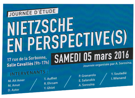 "Journée d'étude ""Nietzsche en perspective(s)"", le samedi 5 mars à la Sorbonne 