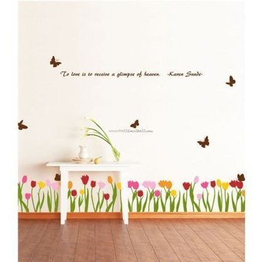 Tulip And Flying Butterfly Wall Decals – WallDecalMall.com | Flower Wall Decals | Scoop.it