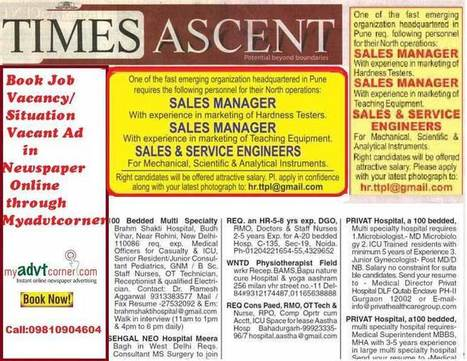 Recruitment ads in Times Ascent (TOI) have a wide reach - MyAdvtCorner - Blog | Book Ad in newspers | Scoop.it