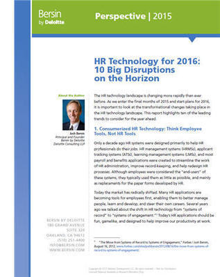HR Technology For 2016: Ten Disruptions On The Horizon | All things e-learning | Scoop.it