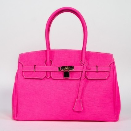 Sac à main en cuir rose fluo cadenas doré   Accessoires de mode femme   Scoop.it