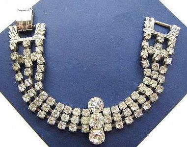 "Vintage Rhinestone Bracelet Deco Link Style Ice Clear Color Silver Metal 7 1/4"" Big Wide Bride Wedding | vintage jewelry | Scoop.it"