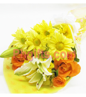 Order flower bouquet for your aunt, with orange roses, white stargazers and yellow Malaysian deliver anywhere in Philippines | mother's day flower | Scoop.it