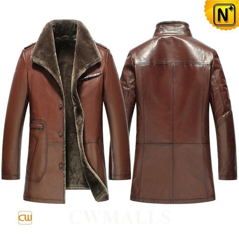 CWMALLS® Shearling Leather Trench Coat CW858109 | Leather Trench Coat | Scoop.it