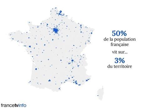 CARTE. La moitié de la population française vit sur moins de 3% du territoire | HG Sempai | Scoop.it