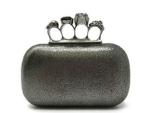 Alexander McQueen Silver Black Cracked Lambskin Leather Skull Ring Clutch - Free World Wide Shipping! [9607S-BKD] - $475.00 : Just Handbags And Shoes   What Men and I Like to Wear !   Scoop.it